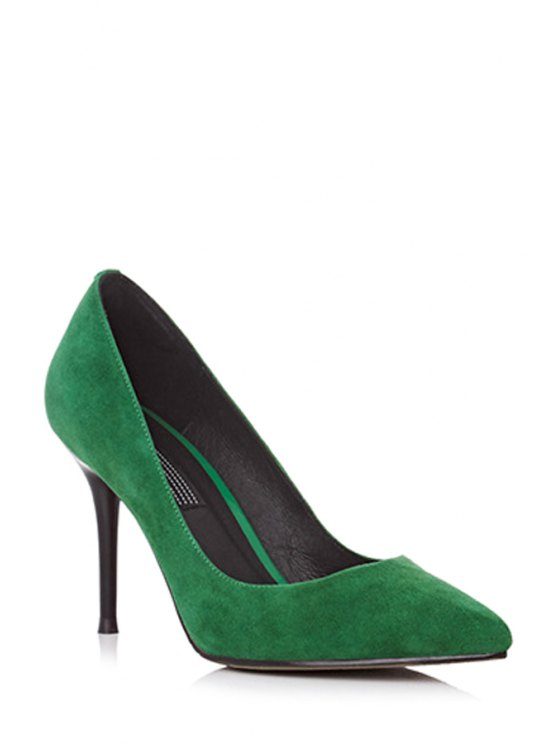 Solid Color Pointed Toe Stiletto Heel Pumps - GREEN 38 Mobile