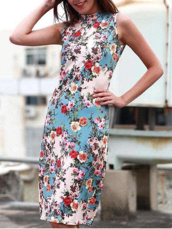 shops Tiny Flower Print Sleeveless Stand Collar Slimming Dress - LIGHT BLUE XL
