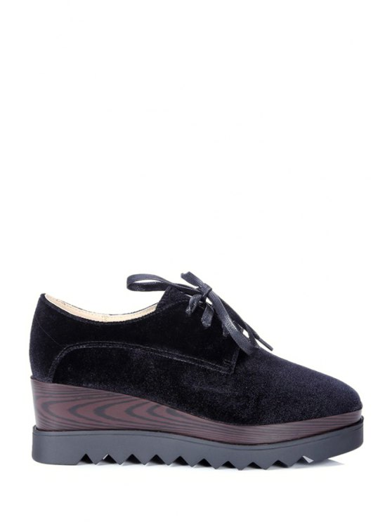 Con cordones de zapatos de la plataforma del dedo del pie cuadrado de - Negro 37