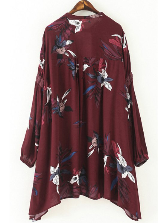 Cut Out Round Neck Long Sleeve Floral Print Blouse - WINE RED L Mobile