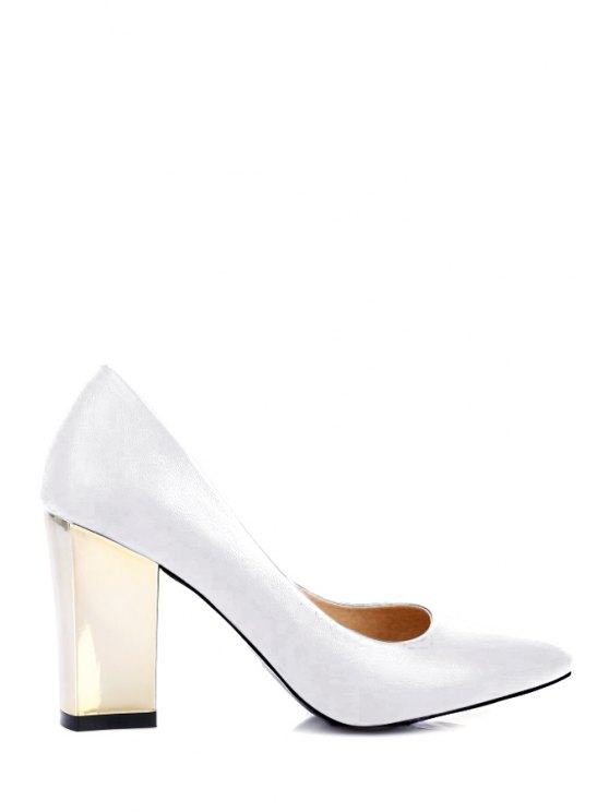 hot Pointed Toe Metal Chunky Heel Pumps - WHITE 36