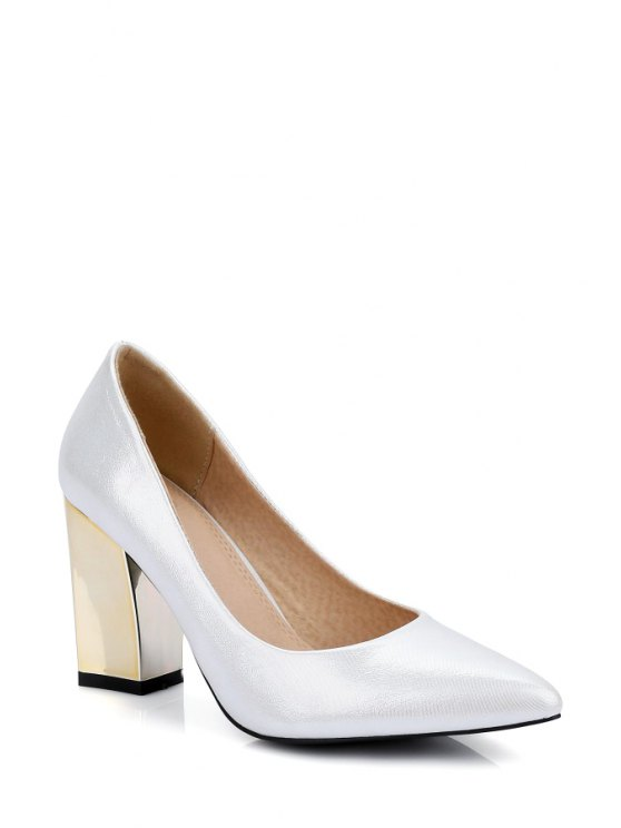 Pointed Toe Metal Chunky Heel Pumps - WHITE 36 Mobile