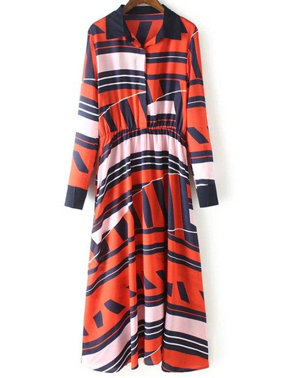best Geometric Pattern Long Sleeve Swing Dress - RED S