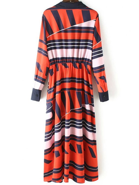 Geometric Pattern Long Sleeve Swing Dress - RED S Mobile