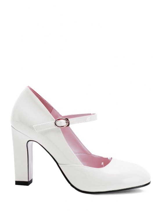 online Buckle Ankle-Wrap Chunky Heel Pumps - WHITE 39