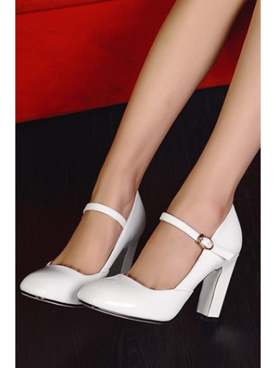 Buckle Ankle-Wrap Chunky Heel Pumps - WHITE 37 Mobile