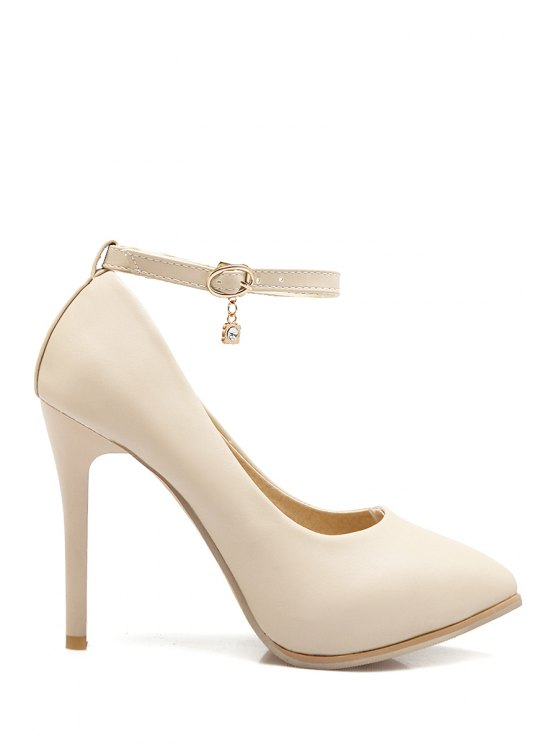 shops Pendant Ankle Strap Stiletto Heel Pumps - OFF-WHITE 36