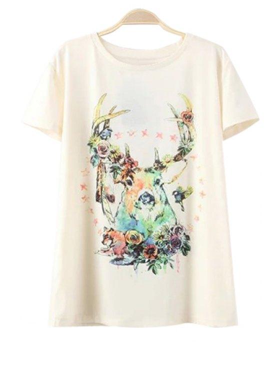 Ciervos patrón de cuello redondo manga corta de la camiseta - Blancuzco S