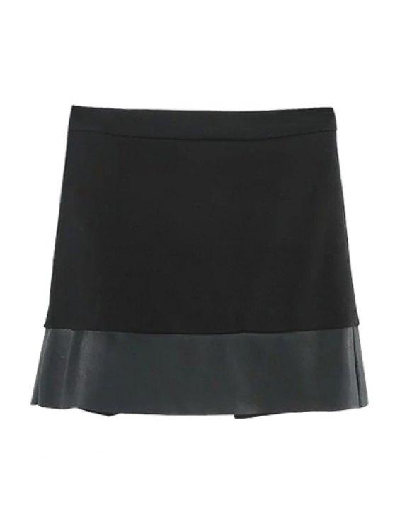 Asymmetric PU Leather Spliced Side Zipper Skirt - BLACK M Mobile
