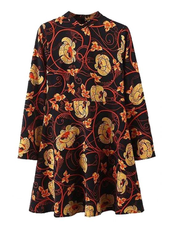 Floral Print Stand Collar Long Sleeve Dress - BLACK L Mobile