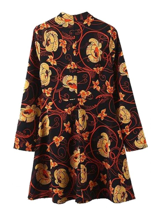 Floral Print Stand Collar Long Sleeve Dress - BLACK M Mobile