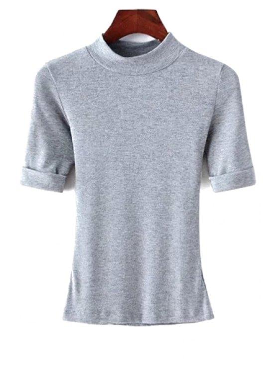 Hilo de color sólido cuello redondo manga corta de la camiseta - Gris S