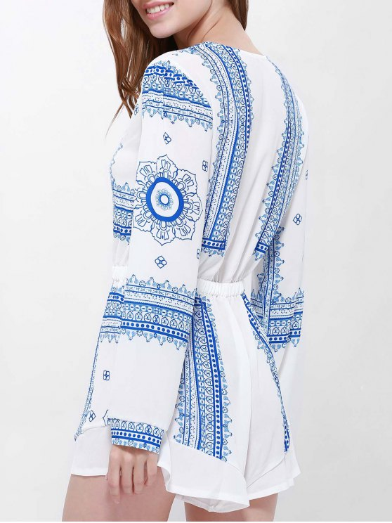 Buttoned Long Sleeve Printed Playsuit - BLUE AND WHITE L Mobile