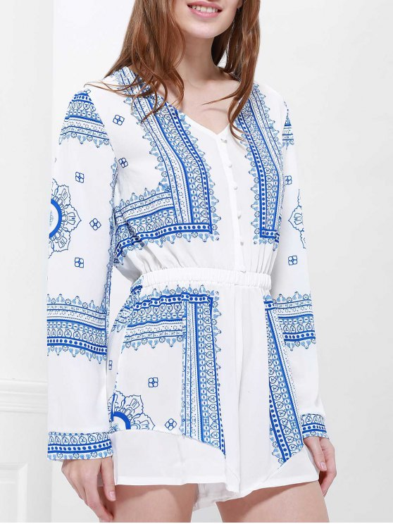Buttoned Long Sleeve Printed Playsuit - BLUE AND WHITE XL Mobile