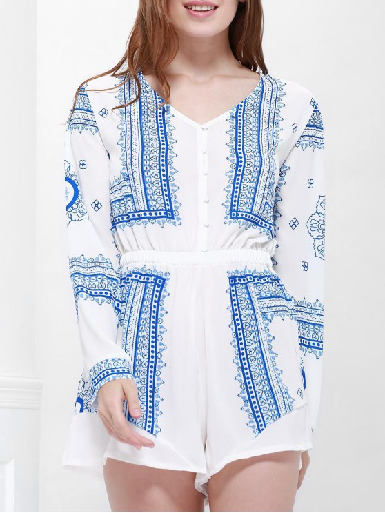 unique Buttoned Long Sleeve Printed Playsuit - BLUE AND WHITE L