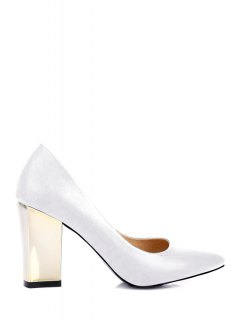 Pointed Toe Metal Chunky Heel Pumps - White 36