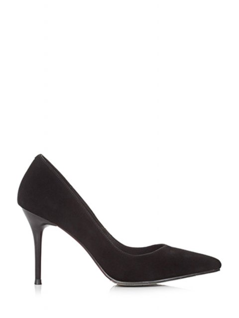 women's Solid Color Pointed Toe Stiletto Heel Pumps - BLACK 39 Mobile