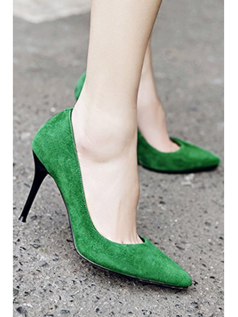 outfits Solid Color Pointed Toe Stiletto Heel Pumps - GREEN 38 Mobile