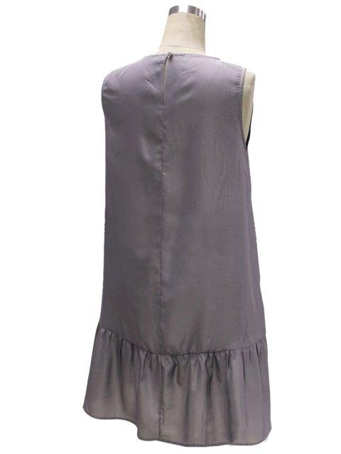 chic Gray Loose Pocket V Neck Sleeveless Dress - GRAY L Mobile