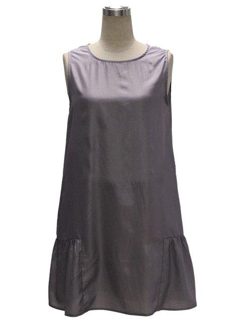 fashion Gray Loose Pocket V Neck Sleeveless Dress - GRAY M Mobile
