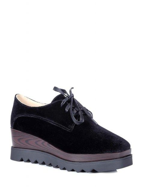 new Lace-Up Square Toe Platform Shoes - BLACK 37 Mobile