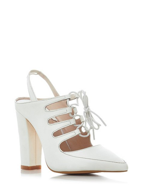 affordable Hollow Out Slingback Lace-Up Sandals - MILK WHITE 38 Mobile