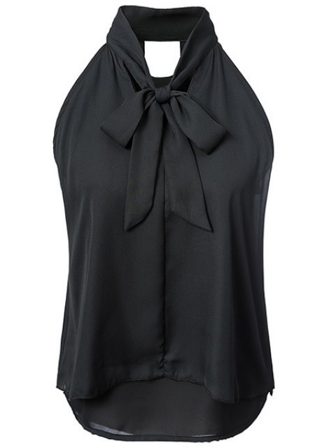 sale Double-Layered Bow Collar Sleeveless Shirt - BLACK M Mobile