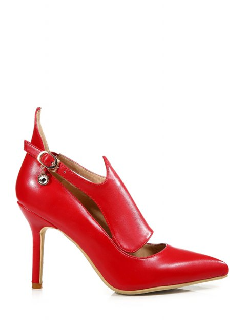 women's Buckle Solid Color Pointed Toe Pumps - RED 38 Mobile
