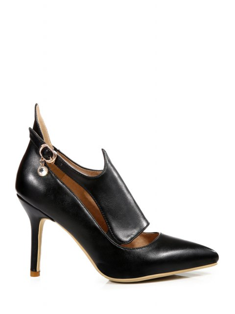 affordable Buckle Solid Color Pointed Toe Pumps - BLACK 39 Mobile