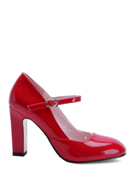 chic Buckle Ankle-Wrap Chunky Heel Pumps - RED 38 Mobile