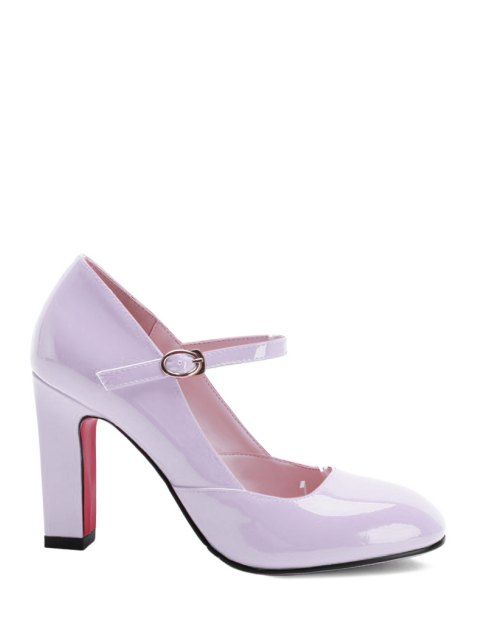 outfits Buckle Ankle-Wrap Chunky Heel Pumps - PINK 38 Mobile
