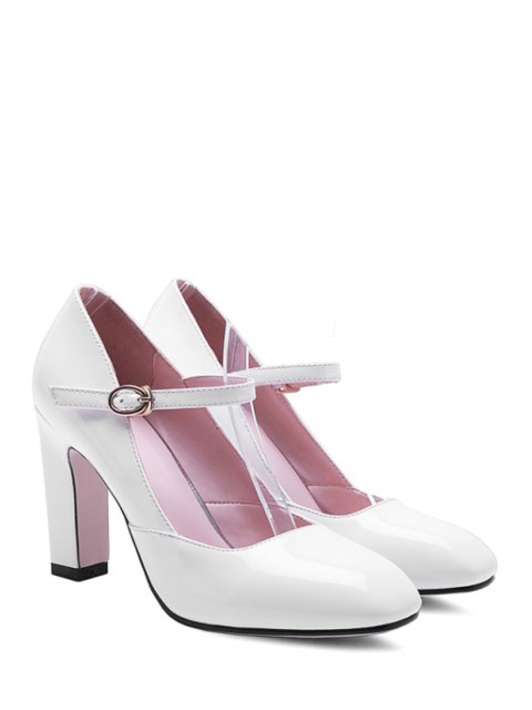 online Buckle Ankle-Wrap Chunky Heel Pumps - WHITE 39 Mobile