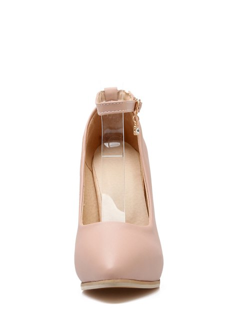 affordable Pendant Ankle Strap Stiletto Heel Pumps - PINK 38 Mobile