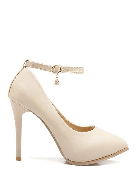 shops Pendant Ankle Strap Stiletto Heel Pumps - OFF-WHITE 36 Mobile