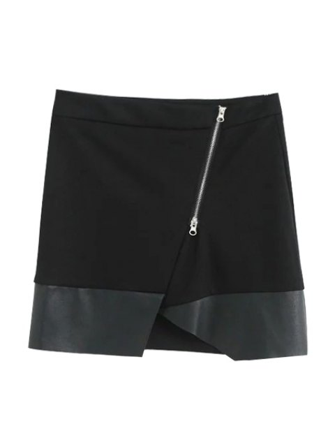 affordable Asymmetric PU Leather Spliced Side Zipper Skirt - BLACK M Mobile