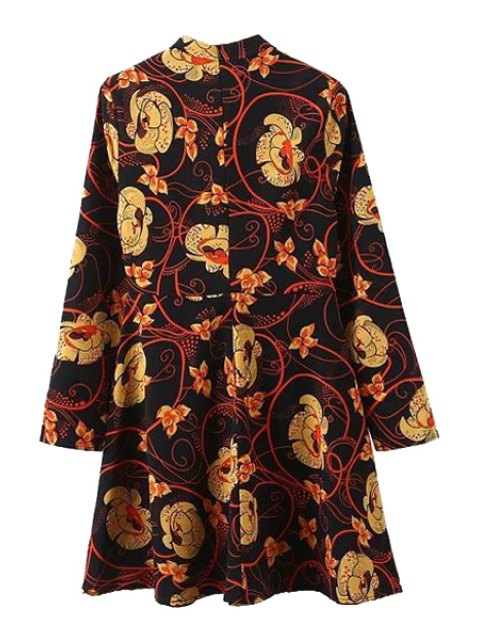 best Floral Print Stand Collar Long Sleeve Dress - BLACK L Mobile
