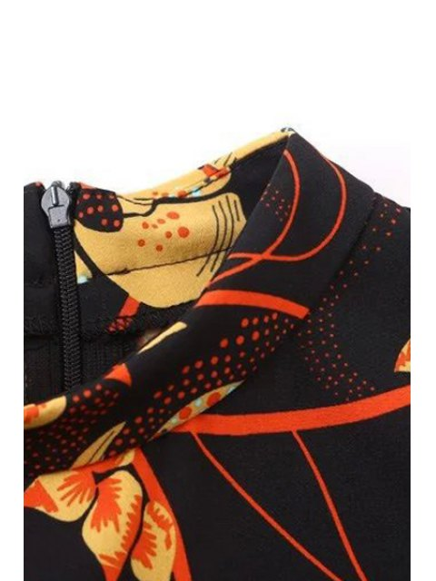 lady Floral Print Stand Collar Long Sleeve Dress - BLACK M Mobile