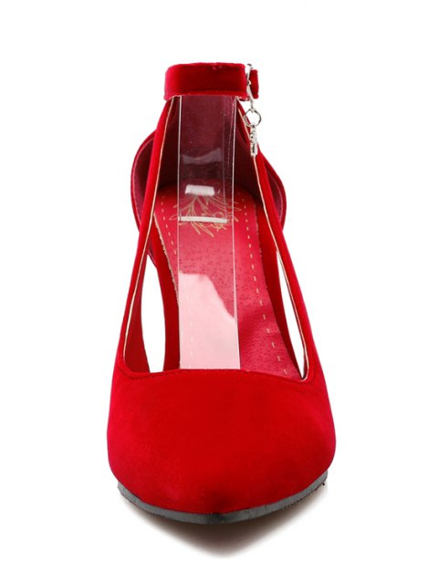shop Pendant Hollow Out Ankle Strap Pumps - RED 34 Mobile