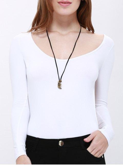 Solide creux Couleur Retour Bodysuit - Blanc L Mobile