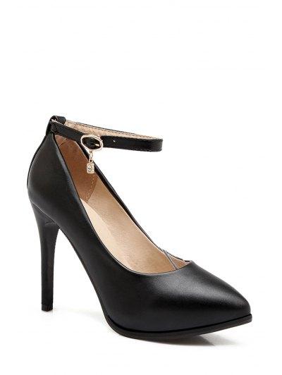 Pendant Ankle Strap Stiletto Heel Pumps - BLACK 38 Mobile