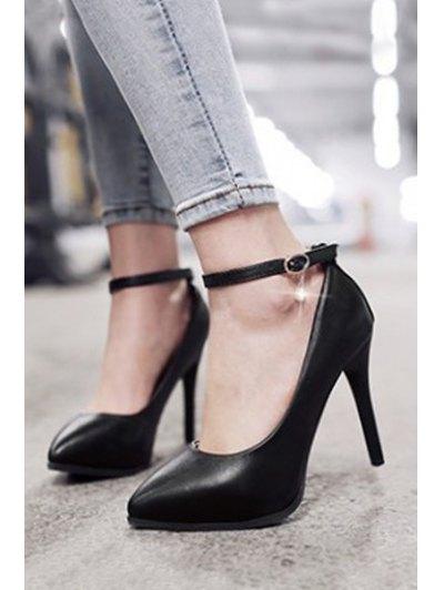 Pendant Ankle Strap Stiletto Heel Pumps - BLACK 39 Mobile