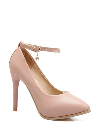 Pendant Ankle Strap Stiletto Heel Pumps - PINK 38 Mobile