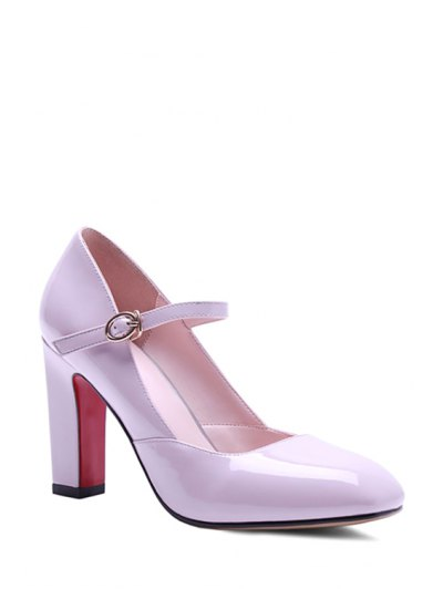 Buckle Ankle-Wrap Chunky Heel Pumps - PINK 36 Mobile