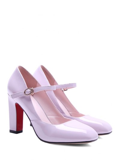 Buckle Ankle-Wrap Chunky Heel Pumps - PINK 39 Mobile