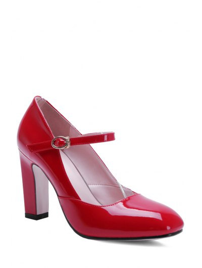 Buckle Ankle-Wrap Chunky Heel Pumps - RED 37 Mobile