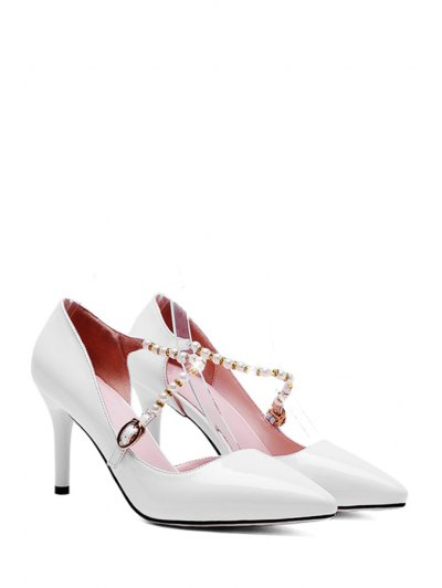 Solid Color Beading Stiletto Heel Pumps - WHITE 37 Mobile