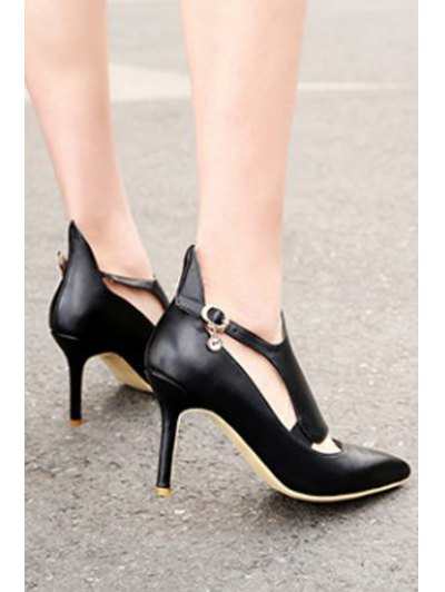 Buckle Solid Color Pointed Toe Pumps - BLACK 39 Mobile