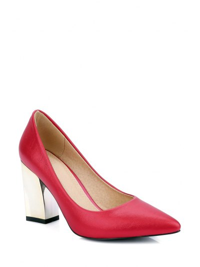 Pointed Toe Metal Chunky Heel Pumps - RED 38 Mobile
