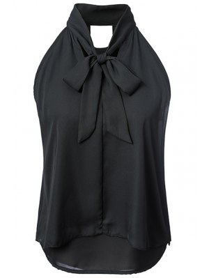 Double-Layered Bow Collar Sleeveless Shirt - Black