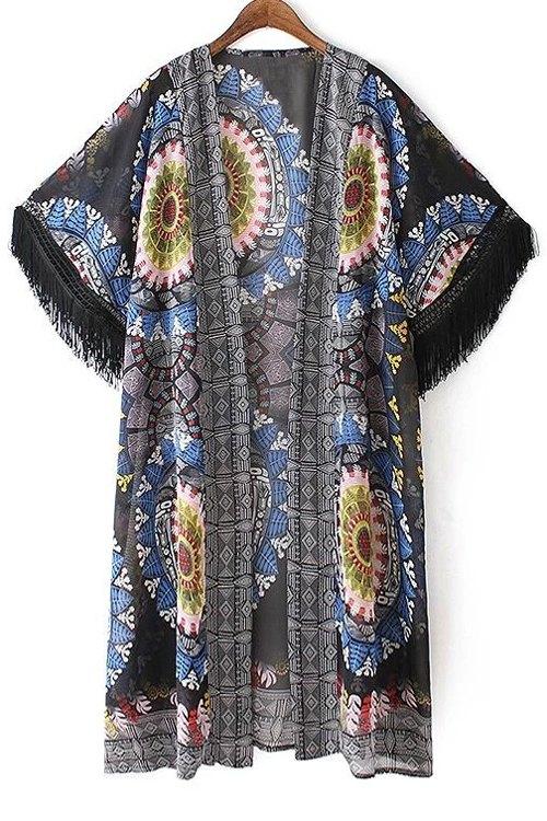 Short Sleeve Printed Tassels Kimono Blouse